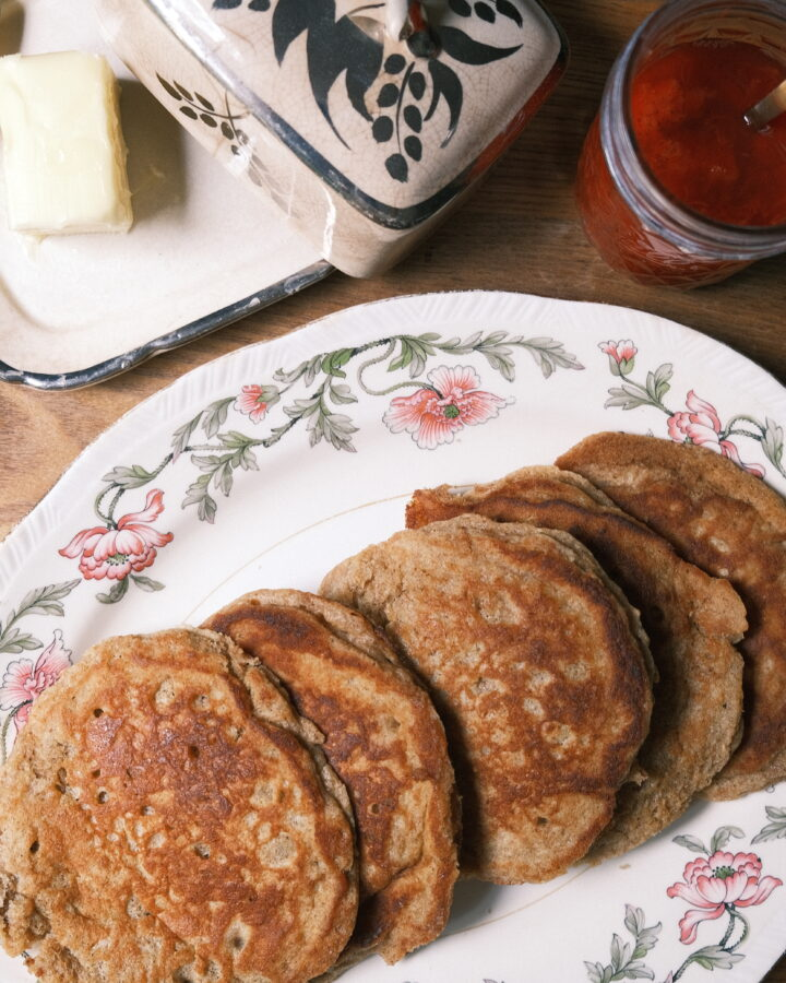 picture of einkorn pancakes with strawberry and rhubarb compote
